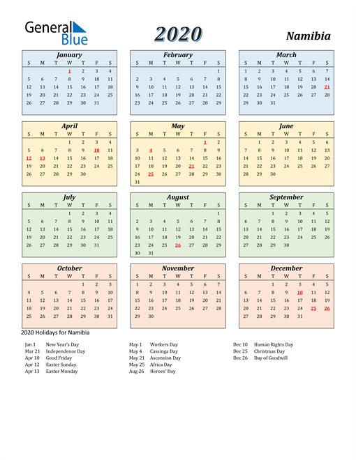 Namibia Calendar 2020