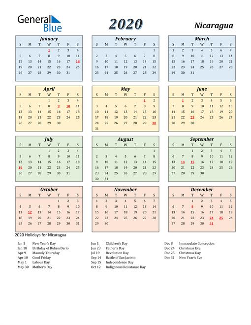 Nicaragua Calendar 2020