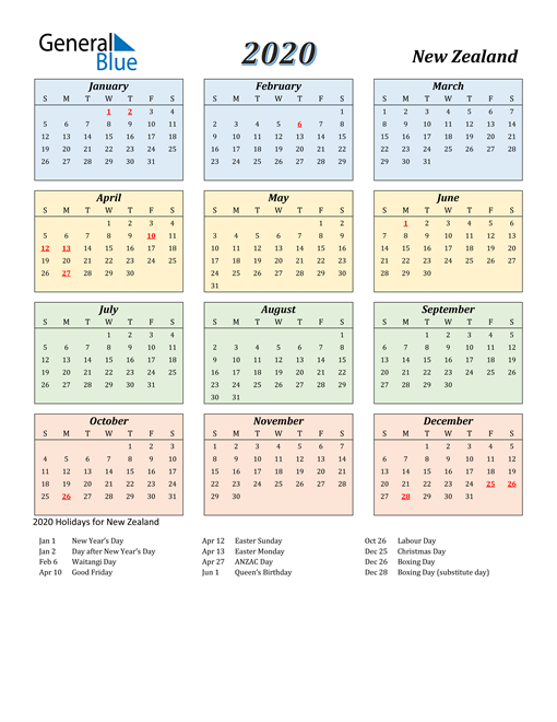 Image of New Zealand 2020 Calendar with Color with Holidays