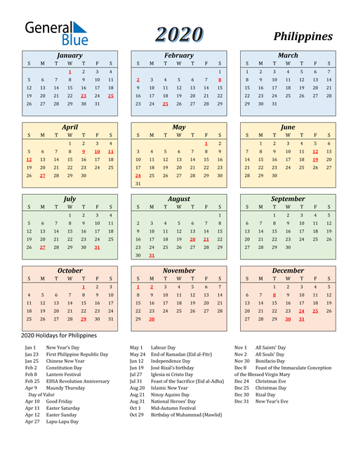 Image of Philippines 2020 Calendar with Color with Holidays