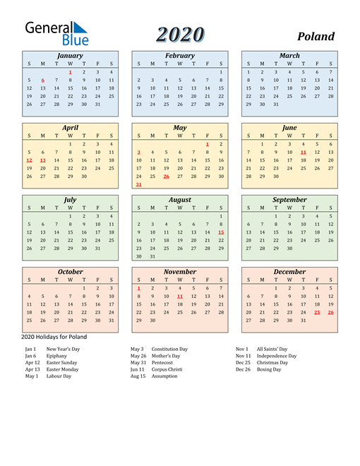 Image of Poland 2020 Calendar with Color with Holidays