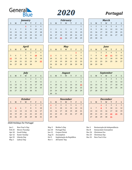 Image of Portugal 2020 Calendar with Color with Holidays