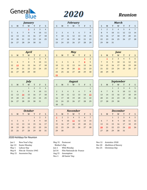 Image of Reunion 2020 Calendar with Color with Holidays