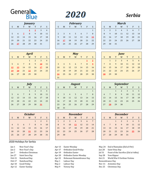 Image of Serbia 2020 Calendar with Color with Holidays