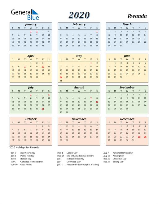 Rwanda Calendar 2020