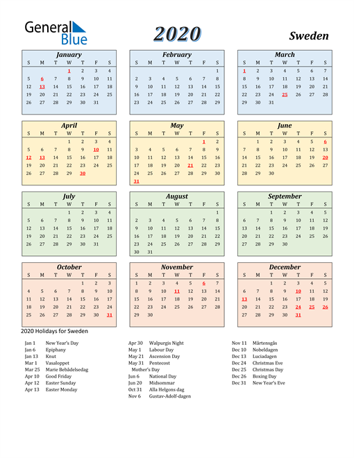 Image of Sweden 2020 Calendar with Color with Holidays