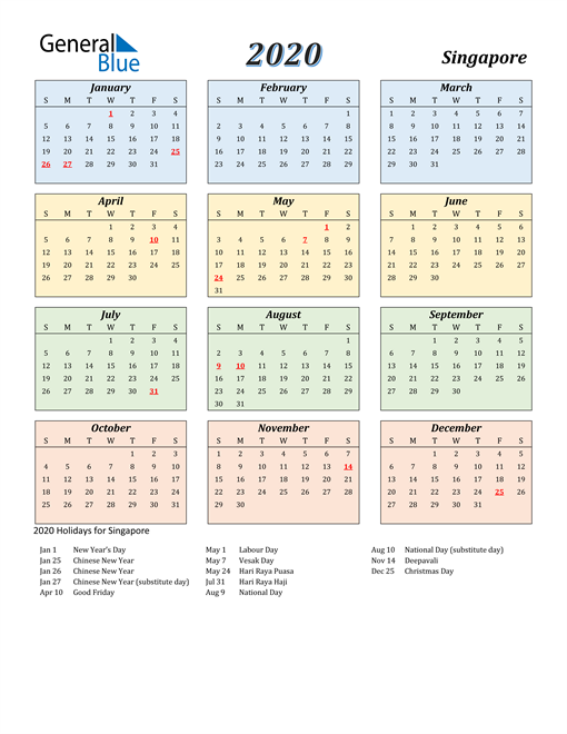 Image of Singapore 2020 Calendar with Color with Holidays