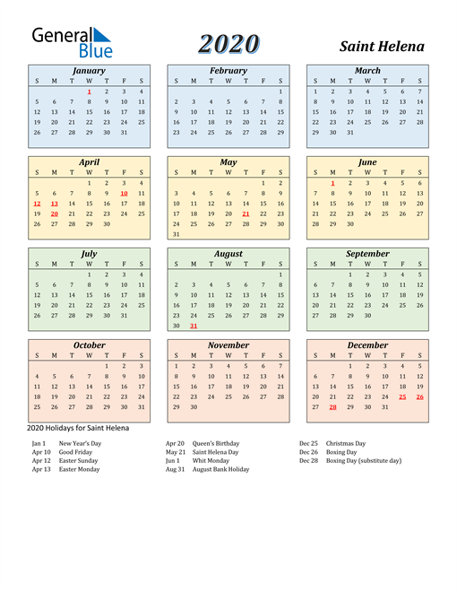 Image of Saint Helena 2020 Calendar with Color with Holidays