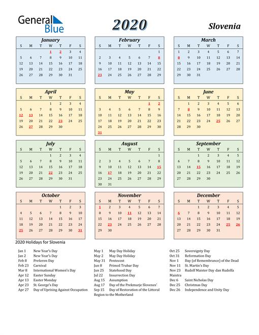 Slovenia Calendar 2020