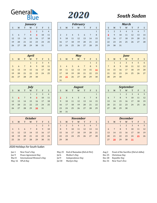 South Sudan Calendar 2020