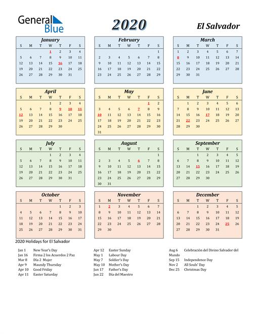 Image of El Salvador 2020 Calendar with Color with Holidays