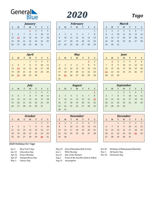 Togo Calendar 2020