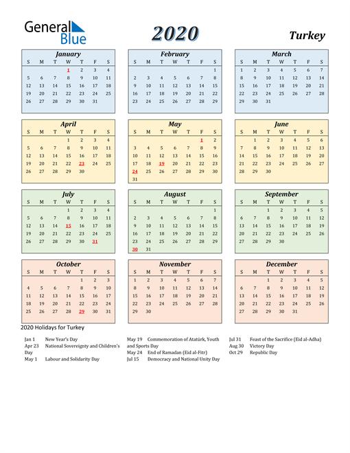 Turkey Calendar 2020