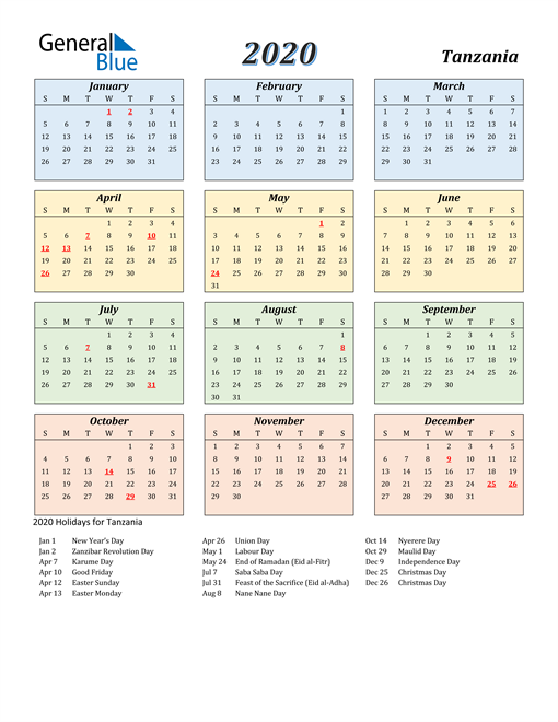 Image of Tanzania 2020 Calendar with Color with Holidays
