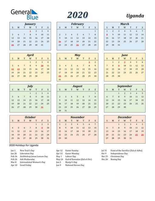 Image of Uganda 2020 Calendar with Color with Holidays