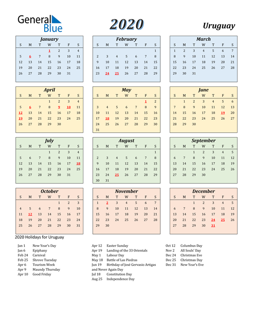 Image of Uruguay 2020 Calendar with Color with Holidays