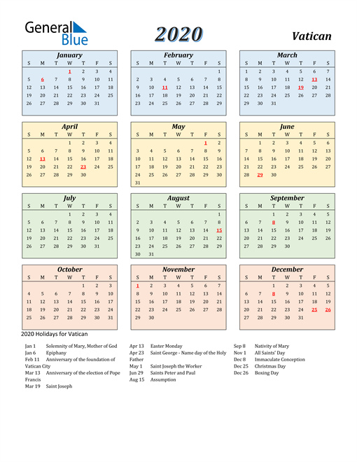 Image of Vatican 2020 Calendar with Color with Holidays