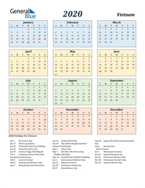 Vietnam Calendar 2020