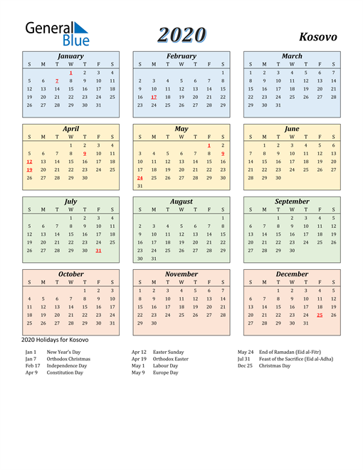 Image of Kosovo 2020 Calendar with Color with Holidays