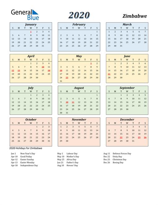 Zimbabwe Calendar 2020