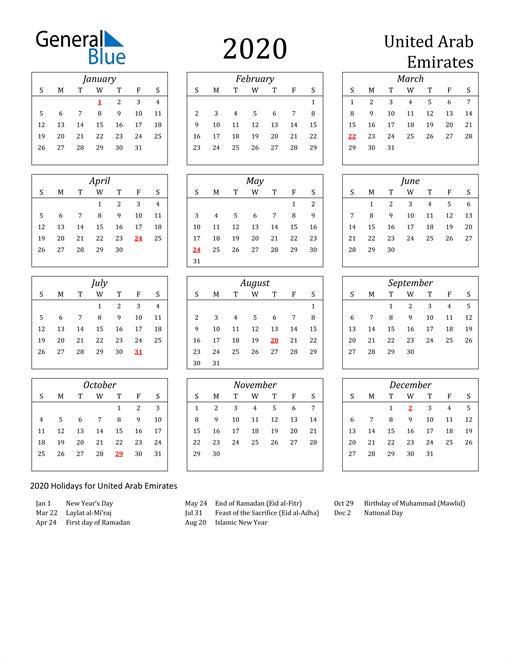 Image of United Arab Emirates 2020 Calendar Streamlined Version with Holidays
