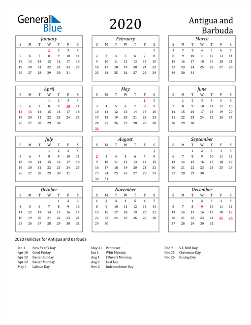 Image of Antigua and Barbuda 2020 Calendar Streamlined Version with Holidays