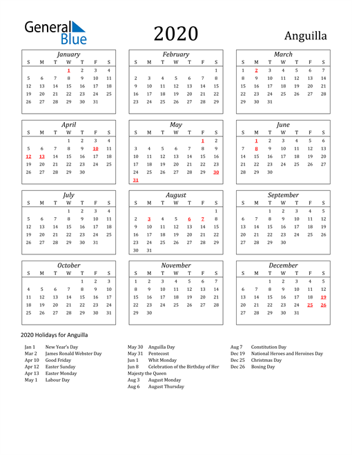 Image of Anguilla 2020 Calendar Streamlined Version with Holidays