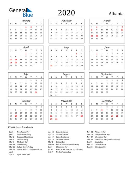2020 Albania Holiday Calendar