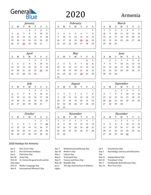 2020 Armenia Holiday Calendar