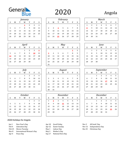 Image of Angola 2020 Calendar Streamlined Version with Holidays