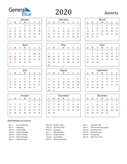 Image of Austria 2020 Calendar Streamlined Version with Holidays
