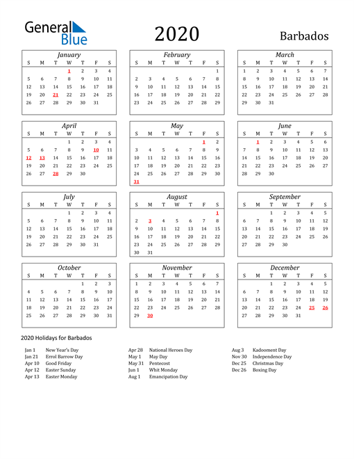 Image of Barbados 2020 Calendar Streamlined Version with Holidays