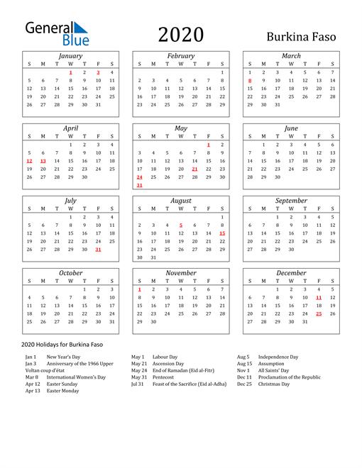 2020 Burkina Faso Holiday Calendar