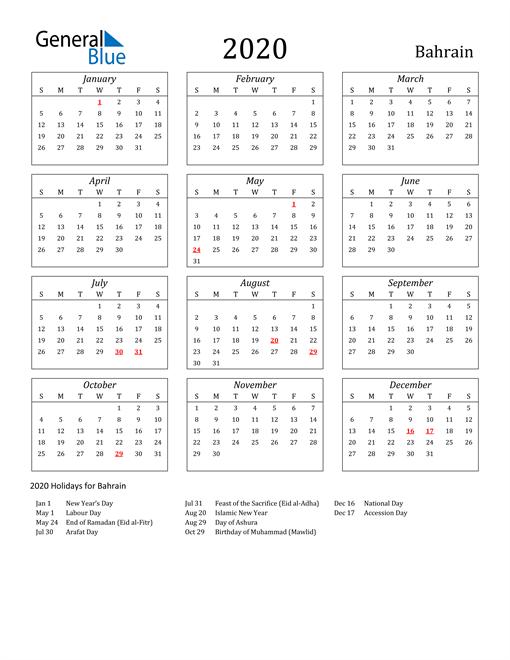2020 Bahrain Holiday Calendar