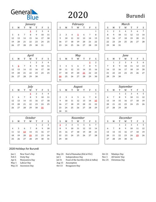 2020 Burundi Holiday Calendar