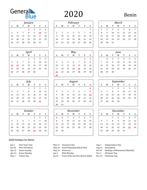 2020 Benin Holiday Calendar