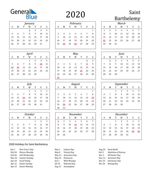 2020 Saint Barthelemy Holiday Calendar