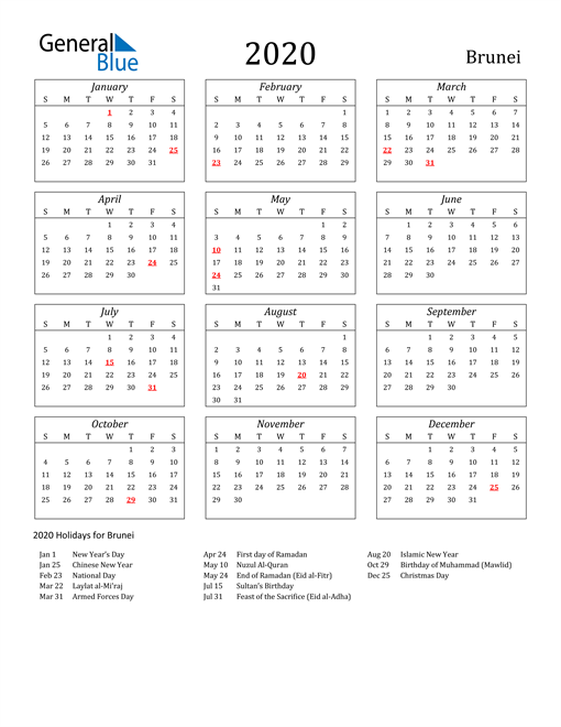 Image of Brunei 2020 Calendar Streamlined Version with Holidays