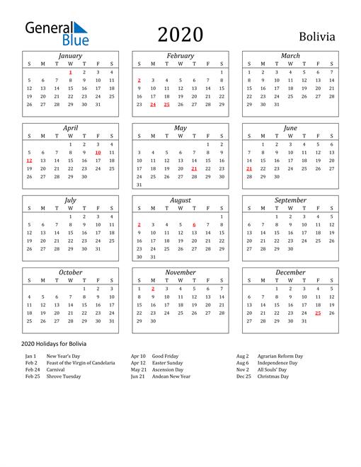 2020 Bolivia Holiday Calendar