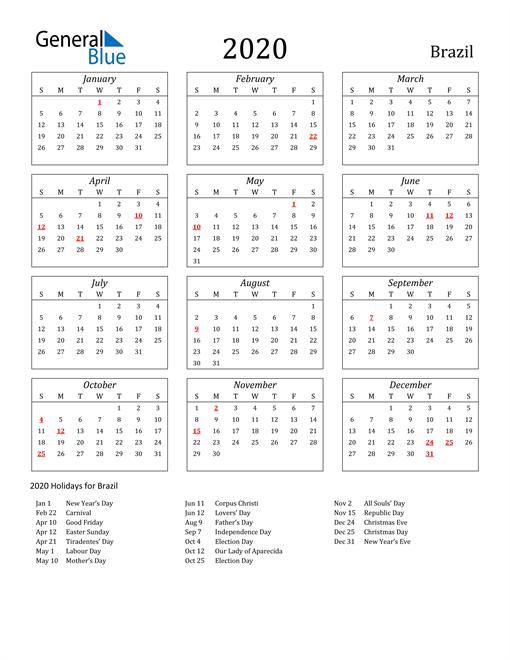2020 Brazil Holiday Calendar