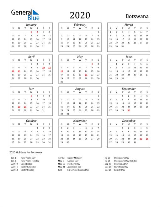 Image of Botswana 2020 Calendar Streamlined Version with Holidays