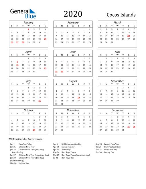 2020 Cocos Islands Holiday Calendar