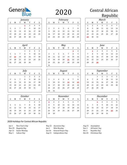 2020 Central African Republic Holiday Calendar