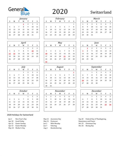 Image of Switzerland 2020 Calendar Streamlined Version with Holidays