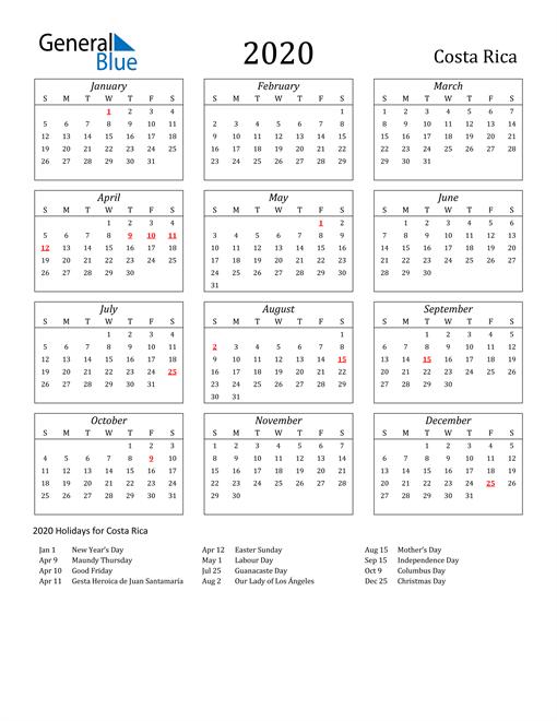 2020 Costa Rica Holiday Calendar