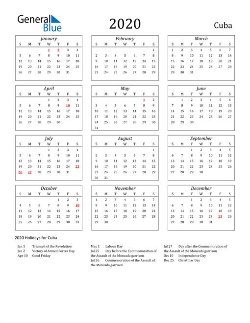 2020 Cuba Holiday Calendar