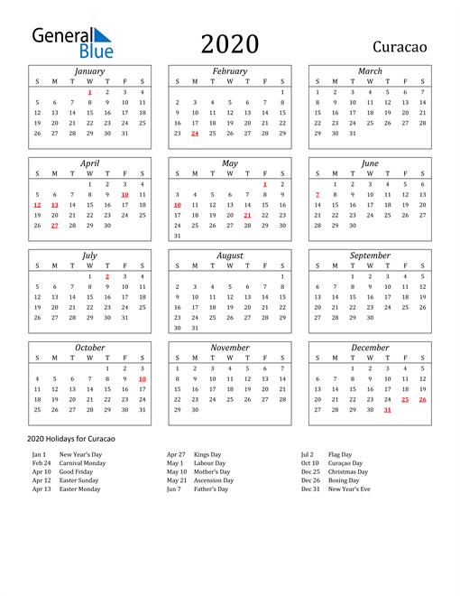 2020 Curacao Holiday Calendar