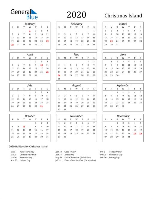 Image of Christmas Island 2020 Calendar Streamlined Version with Holidays