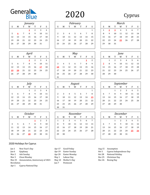 Image of Cyprus 2020 Calendar Streamlined Version with Holidays