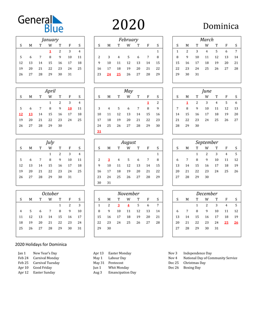 Image of Dominica 2020 Calendar Streamlined Version with Holidays